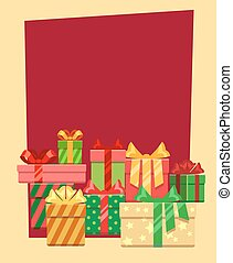 ram, hälsning, eller, vektor, mall, julkort