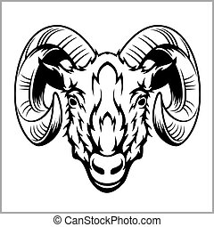 Ram head logo or icon in black and white. This is vector...