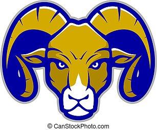 Clipart picture of a ram head cartoon mascot logo character