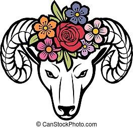 Ram head with flowers (vector illustration)