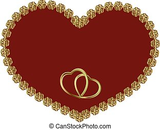 ram, hjärta, guld, röd
