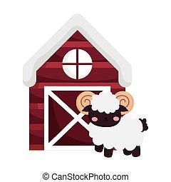 ram house barn farm animal cartoon