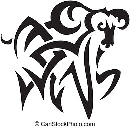 ram in tribal style - vector illustration - vector...