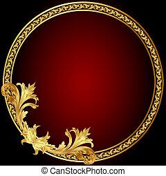 ram, mönster, cirkel, gold(en)