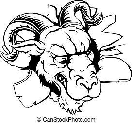 A mean looking ram animal mascot breaking through a wall