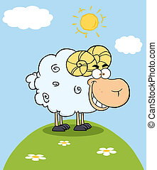 Ram Mascot Character On A Hill