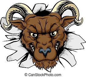 Ram mascot smash out - A mean ram character or sports mascot...