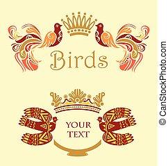 ram, med, fåglar