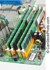 RAM memory boards mounted on the motherboard of a computer