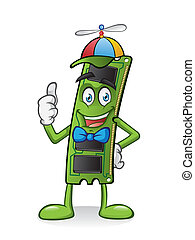 ram memory card cartoon is standing with a propeller hat and thumbs-up