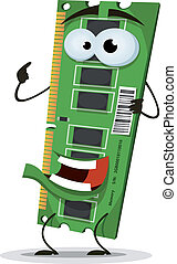 RAM Memory Card Character - Illustration of a funny cartoon...