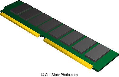 RAM Memory - RAM (Random Access Memory) chip illustration,...