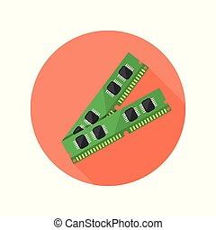 Ram memory vector round icon with long shadow