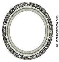 ram, oval, bild, silver