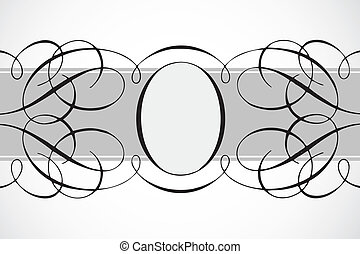ram, oval, dekorativ, vektor