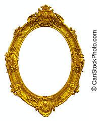 ram, oval, guld, bild