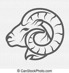 ram, símbolo, logotipo, emblem.