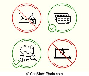 Ram, Search map and Secure mail icons set. Internet downloading sign. Vector