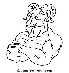 Ram Sheep Strong Mascot