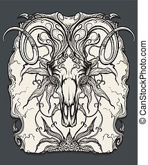 Ram skull engraving illustration