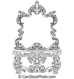 ram, spegel, toalettbord, barock, möblemang