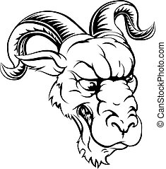 Ram sports mascot - A black and white ferocious mean looking...