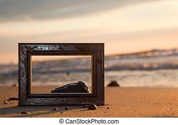 ram, stranden, hos, solnedgång