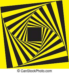 ram, svart, spiral, gul