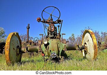 ram, traktor, gammal, hjul, baksida