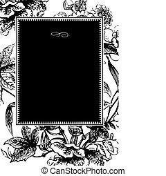 ram, vektor, svart, blomma