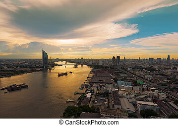 Rama 9 Bridge over the Chao Phraya river at Sunset, Bangkok, Thailand