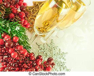 rama, bayas, champaña, fur-tree, navidad