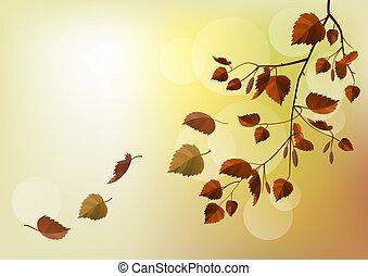 rama, luz, hojas, otoño, fondo beige
