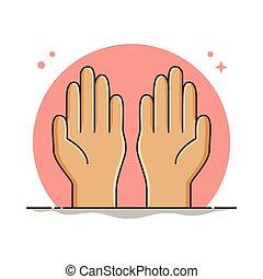 ramadan, 祈る, 手, vector., シンボル, イラスト, 祈ること, 精神