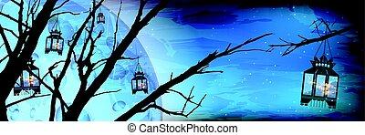 Ramadan. A lantern on a tree a lot. Light in the night sky