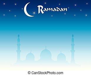 Ramadan and Eid Skyline with Mosque Background