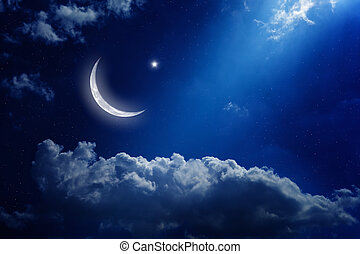 Ramadan background - Eid Mubarak background with moon and...