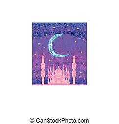 Ramadan background - mosque illustration card