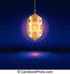 ramadan background with hanging lantern on mandala design 0803
