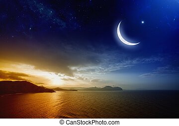 Ramadan background with moon and stars, holy month, beautiful red sunset over sea. Elements of this image furnished by NASA