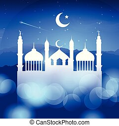 ramadan background with mosque silhouette 0803