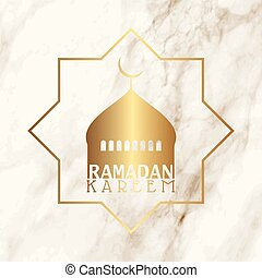 Ramadan background with mosque silhouette on marble texture