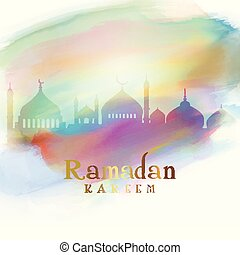 Ramadan background with mosque silhouettes on watercolour texture