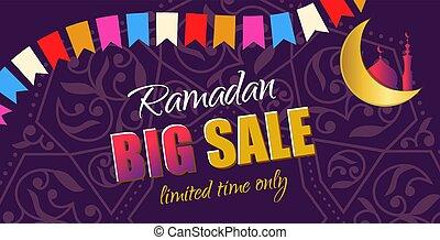 Ramadan Big Sale. Design horizontal web banner with beautiful cr