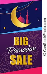 Ramadan Big Sale. Design vertical web banner with beautiful cres