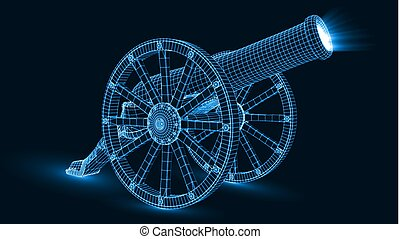 ramadan cannon with glowing wireframe. 3d style vector illustration