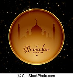ramadan card design in golden circle frame style