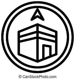 ramadan, compas, vecteur, festival, qibla, apparenté, icône