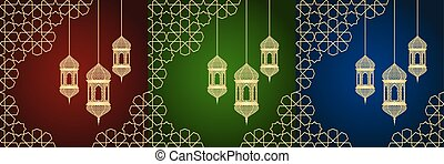 ramadan, conjunto, tarjetas