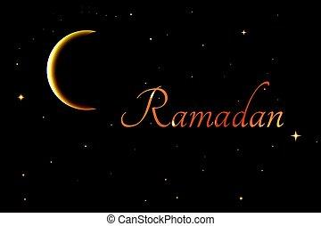 Ramadan crescent moon into the night sky. vector background